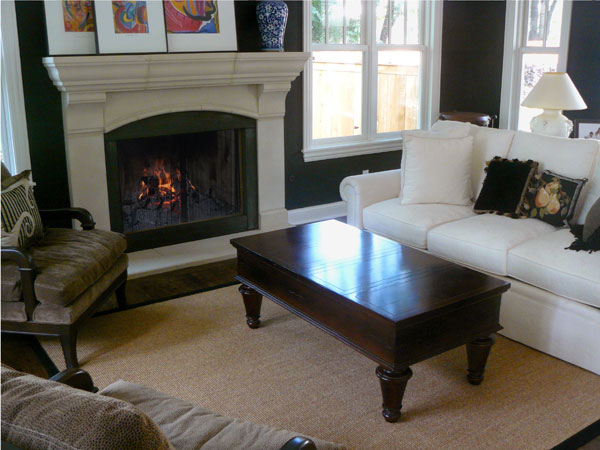 Custom Fireplace Mantel with black filler panels